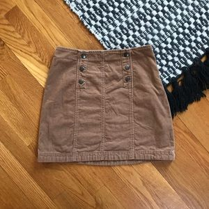 Hollister • Brown Corduroy Button Skirt